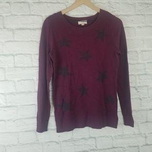 LOFT| Maroon Light Weight Sweater With Black Stars